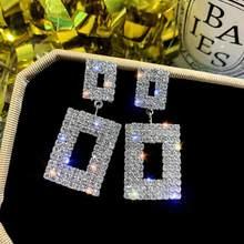 Pendientes de diamantes de imitación, pendientes cuadrados femeninos, europeos y americanos, joyería coreana, temperamento versátil, pendientes, mujer