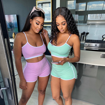 Solid Two Piece Set Women Crop Top And Shorts Sexy Rib Tracksuit Fitness Summer Clothes For Women orange plus size 2 piece set women pant and top outfit tracksuit sportswear fitness co ord set 2019 summer large big clothing