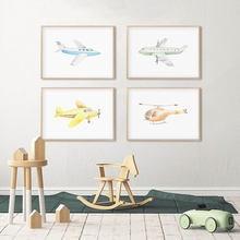 Мультяшный самолет постер с вертолетом детская Настенная картина