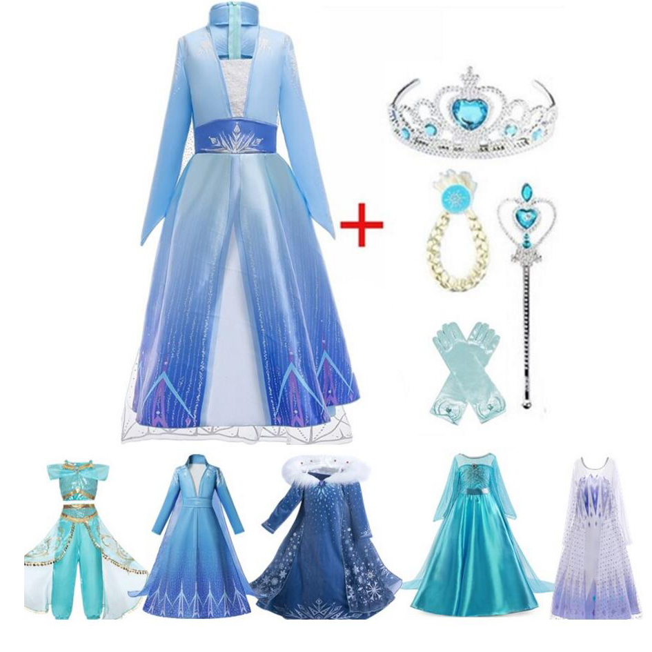 4-10T Fancy Princess Dress Baby Girl Clothes Kids Halloween Party Cosplay Costume Children Elsa Anna Dress Vestidos Infantil