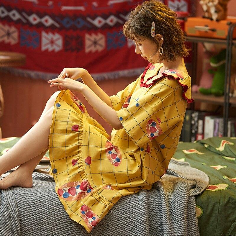 2020 New Spring Summer Nightdress Lovely Women's Sleepwear Soft Cotton Casual Home Wear Cartoon Ladies Nightwear Big Size Pijama 13