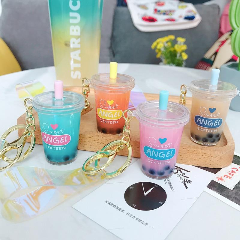 Creative Mini Soft Drink Keychain Decompression Jewelry Gift Coconut Milk Tea Beverage Bubble Tea Acrylic Cartoon Keychains Gift
