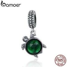 BAMOER 100% 925 Sterling Silver Turtle's Adventure Tortoise Pendant Charms fit Women Charm Bracelets Necklace DIY Jewelry SCC281