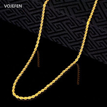 VOJEFEN AU750 18k Real Yellow Gold Rope Chain Necklace For Men Women Twist Chains Choker Necklace Fashion Jewelry