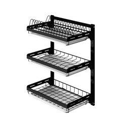 Rejilla para escurrir platos de acero inoxidable negro estante de cocina colgar en la pared platos domésticos que cuelgan la caja de almacenamiento de vajilla