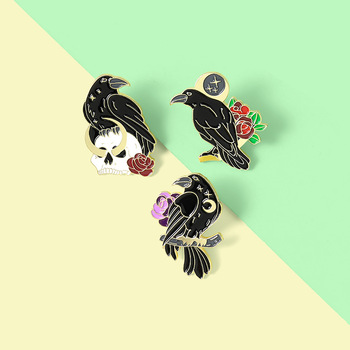 Black crow brooch bird Backpack Badge gift brooch brooch Anti-glare brooch Rose flower crow brooch Lapel pins Crow brooch Flower image