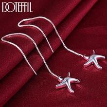 Женские серьги подвески из серебра 925 пробы с морской звездой