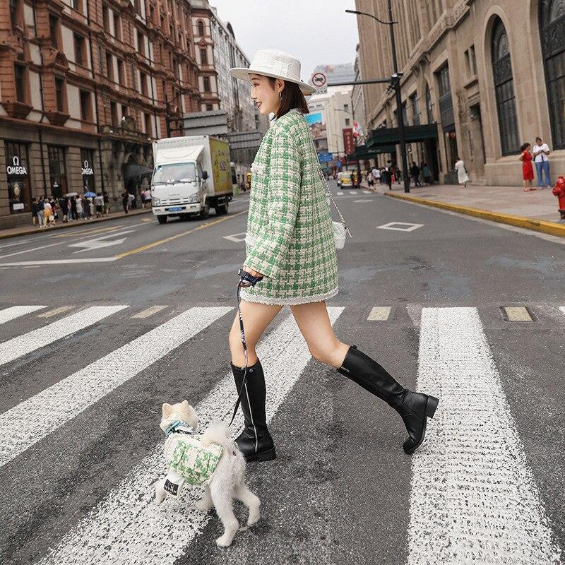 Parent-enfant chien vêtements luxe dentelle tressé veste hiver chaud Pet vêtements vêtements petits chiens chat pardessus chiot manteau