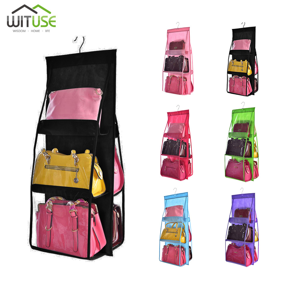 Hanging Handbag Organizer 6 Pockets Tote Rack Bag Clear Folding Purse Handbag Organizer Storage Holder Wardrobe Closet Anti-dust