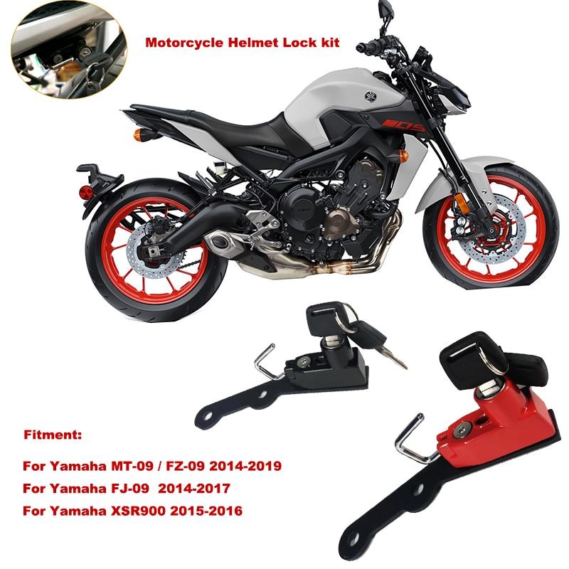 Acouto Helmet Lock Motorcycle Alloy Mount Hook Keys Locking Set for MT-09 FZ-09 FJ-09 XSR900