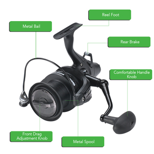 Image 4 - 12+1 Double Drag Carp Fishing Reel Spinning Reel with Front and Rear Left Right Interchangeable Wheels for Saltwater Freshwater