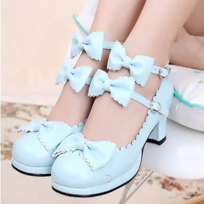 Maid-Shoes Low-Heels Cosplay Princess Women Kawaii Girl Sweet Pumps Buckle-Straps Bowtie