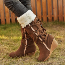 Fashion High Boots Women Wedge Heels Boots Winter Shoes Ladies Warm Plush Mid-calf Boots Female Lace-up Snow Boots Plus Size 43(China)