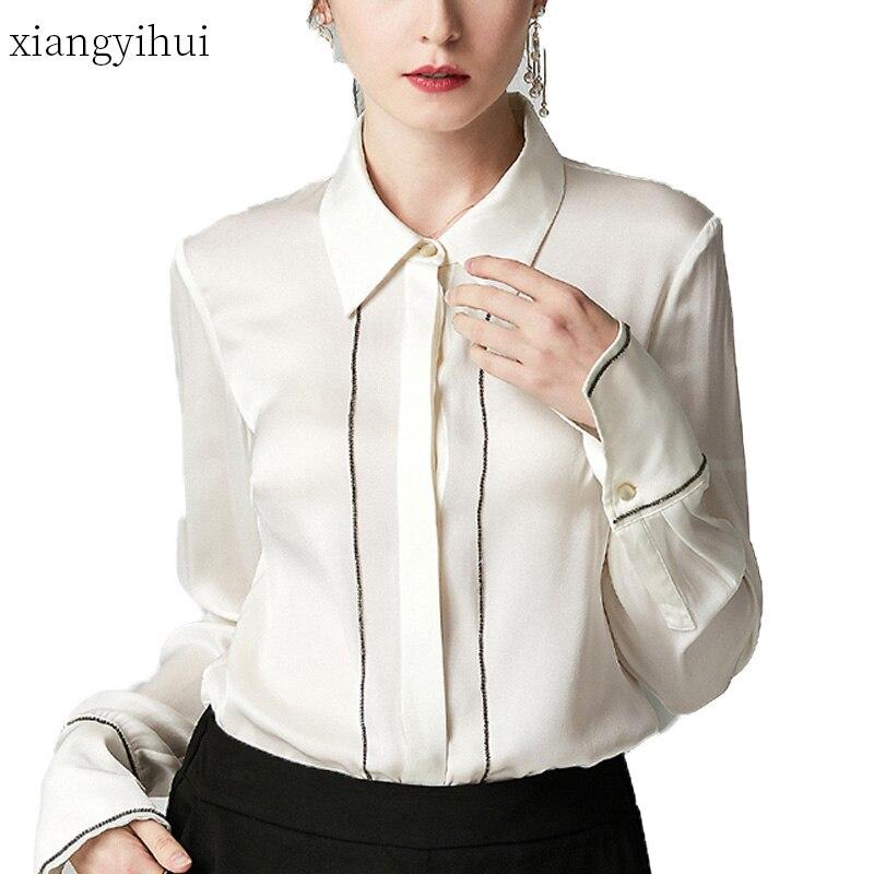 Décontracté à manches longues chemise automne mode noir Blouse col rabattu simple boutonnage mince travail hauts chemises femmes vêtements