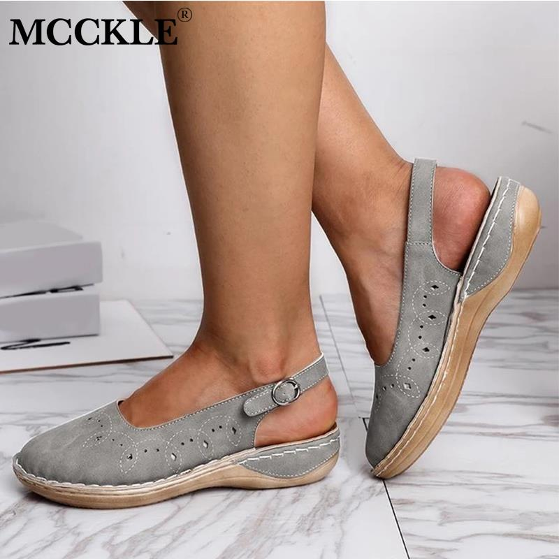 MCCKLE Women's Summer Sandals Buckle Flat Shoes Ladies Solid Sewing Hollow Out Platform Female Casual Comfortable Woman Shoes