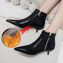 Plus Size 34-43 Fashion Genuine Leather Pointed Toe High Heel Boots Shoes Woman Zipper Ankle Boots Thin Heel Women Boots Pumps the new woman thin high heel pointed toe ankle boots fashion back zipper dress boots woman black red