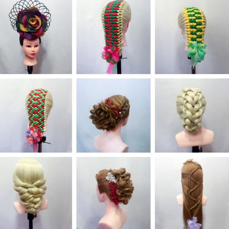 26 ''синтетический манекен с высокой температурой из шелковистого волокна для тренировки головы С плечиками для парикмахерских практик манекен для парикмахеров