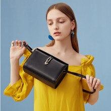 Vento Marea bolso bandolera de cuero genuino caja de mujer bolsos negros 2019 elegante diseño Simple bloqueo mujeres bolso de mensajero monederos grises