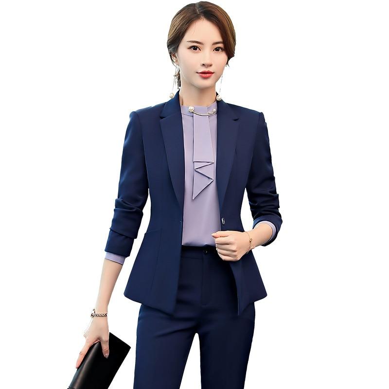 Female Elegant Business Women's Tops And Blouses Pants Suits Office Ladies Blazer Trouser Work Wear 2 Pieces Set Plus Size Blue