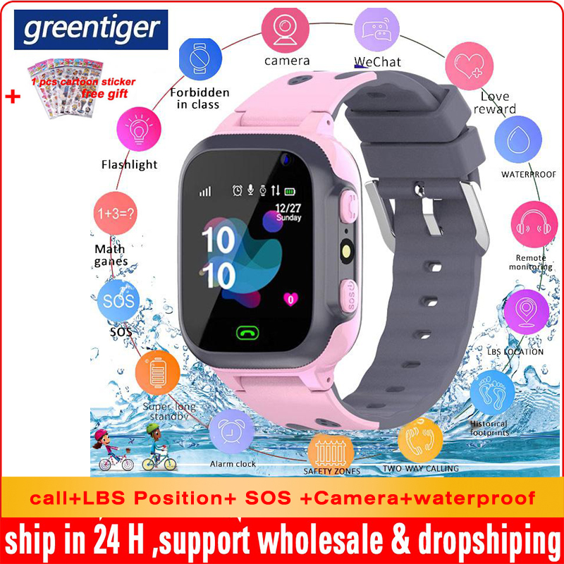 Greentiger Q15 Children Smart Watch Camera Flashlight SOS Call  LBS Tracking Location Waterproof Remote Monitor Kids Smartwatch| |   - AliExpress