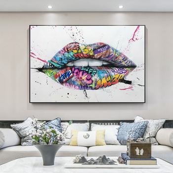Show Teeth Lips Street Graffiti Art Canvas Painting on The Wall Posters and Prints Wall Art Picture for Living Room Home Decor graffiti art colorful rain prints on canvas modern canvas painting wall art posters and prints for living room home decoration