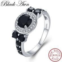 [BLACK AWN] Винтажные Ювелирные изделия из 925 пробы серебра 3,4 г, обручальные кольца для женщин и девушек, вечерние кольца, подарок C470
