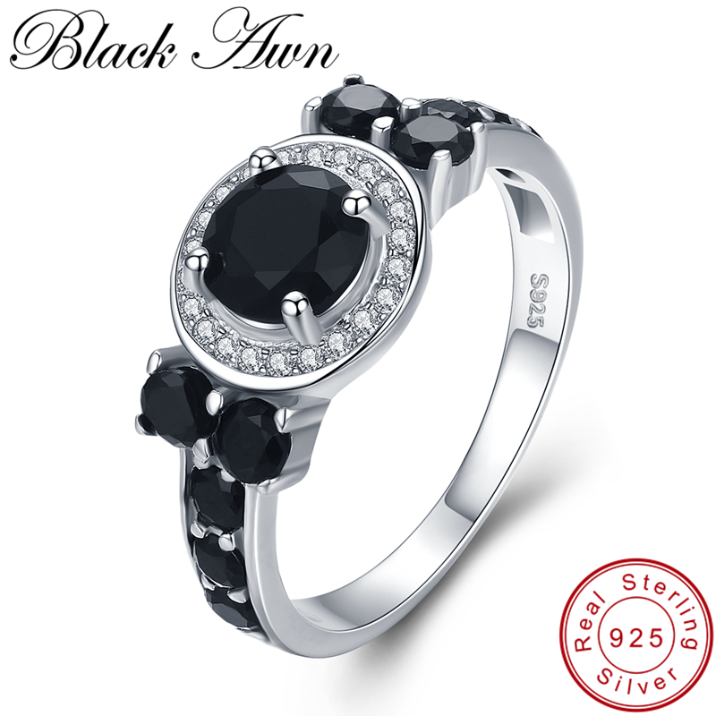 [BLACK AWN] Vintage 3.4g 925 Sterling Silver Jewelry Bague Black Spinel Engagement Rings For Women Girl Party Gift C470
