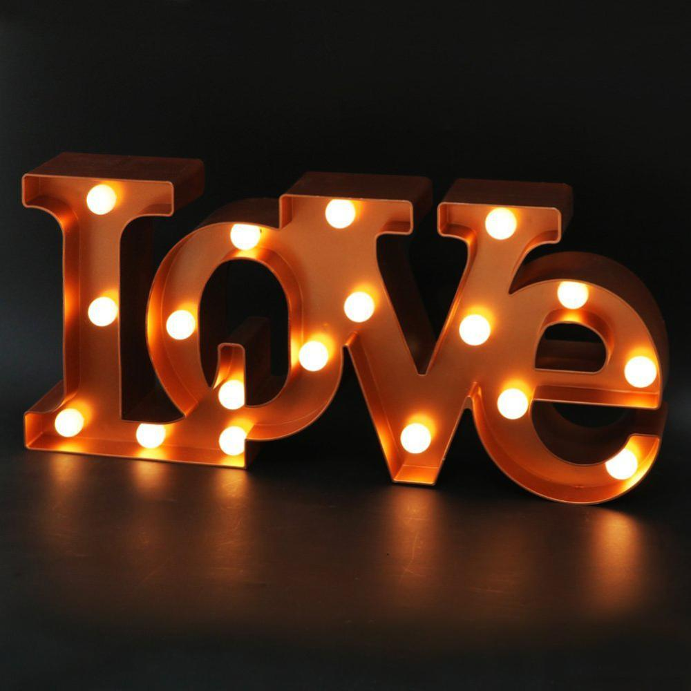 Led Night Light Battery USB Charging LOVE Decorative Letters Lamp Home Club Outdoor Indoor Party Wedding Home Decoration
