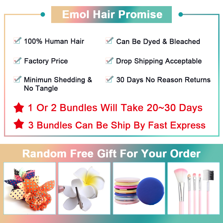 Emol Hair Body Wave Hair Bundles 100% Human Hair Weave Bundles Non-remy Brazilian Hair Bundles 1/3/4 Pieces/Lot