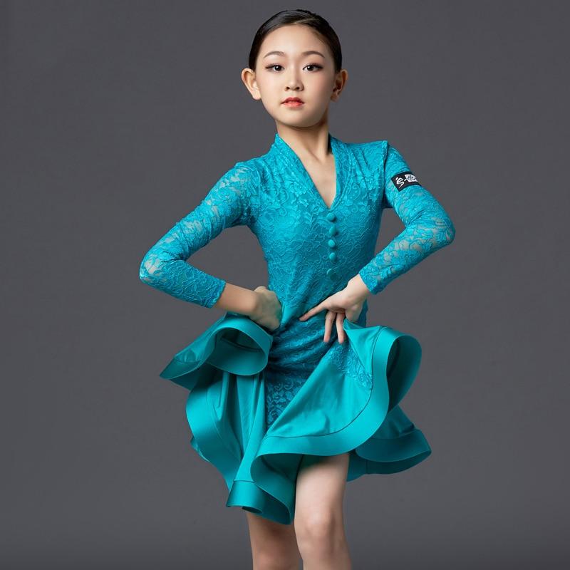 New Latin Performance Clothing Children'S Latin Dance Dress Blue Fish Bones Skirt Latin Dance Dress Competition Dresses DQS2760