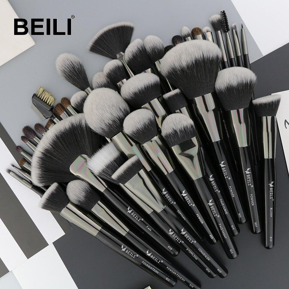 BEILI натуральный черный 40 шт. набор кистей для макияжа тональный порошок консилер тени для бровей красота Профессиональные кисти для макияжа