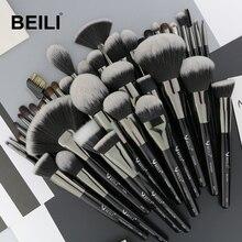 BEILI Natural Black 40Pcs Makeup Brushes Set Foundation Powder Concealer Eyebrow Eyeshadow pinceaux de maquillage