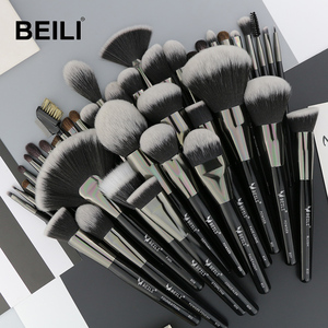 Image 1 - BEILI doğal siyah 40 makyaj fırçası seti vakfı pudra kapatıcı kaş göz farı güzellik profesyonel makyaj fırçaları