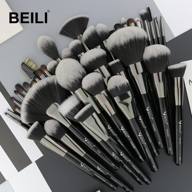 BEILI doğal siyah 40 makyaj fırçası seti vakfı pudra kapatıcı kaş göz farı güzellik profesyonel makyaj fırçaları
