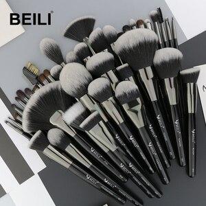 Image 1 - Set de 40 Uds de brochas de maquillaje negras y naturales de BEILI, Set de polvo de base, corrector de cejas, sombra de ojos, brochas de maquillaje profesionales de belleza