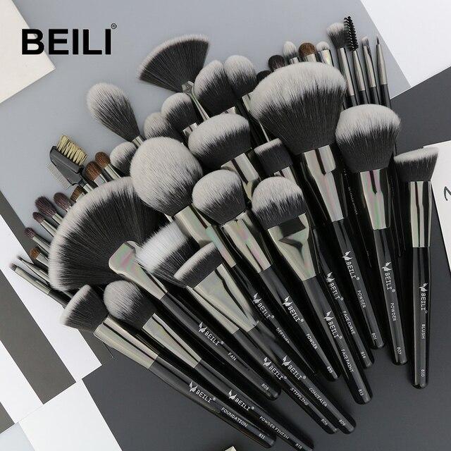 Set de 40 Uds de brochas de maquillaje negras y naturales de BEILI, Set de polvo de base, corrector de cejas, sombra de ojos, brochas de maquillaje profesionales de belleza