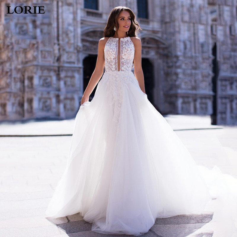 LORIE Princess Wedding Dress 2019 A Line Lace Bridal Dress Sleeveless Romantic Appliques  Vestidos De Novia Wedding Gowns