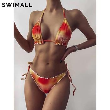 Tie Dye Ruffle Bikini 2021 Sexy Swimsuit Women Push Up Bikini Set Swimwear Female Halter Brazilian Bathing Suit Summer Biquini self tie ruffle bikini set