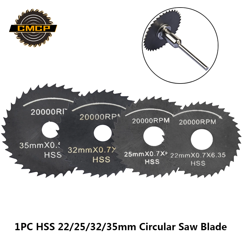 1pc 22/25/32/35mm HSS Mini Saw Blade With 6.35 Mandrel Nitride Coating Circular Saw Blade Cutting Discs For Dremel Cutter