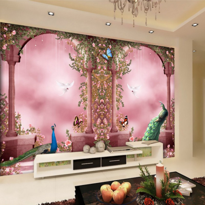 Drop Shipping Custom Photo Wallpaper Romantic Peacock European Arch Custom Mural Business Hotel Background Decorative Wallpaper