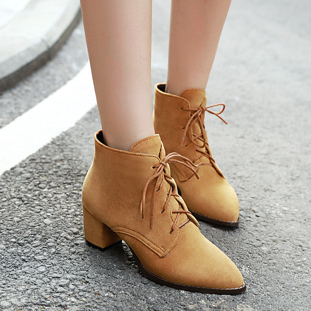 YMECHIC 2019 Autumn Winter Suede Ankle Lace Up Boots Pointed Toe Block High Heel Shoes Yellow Black Apricot Casual Womens Shoes