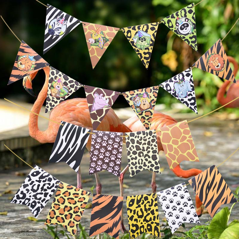 1 Set Jungle Animal Flags Banner Paper Happy Birthday Party Decoration Nursery Bunting Garland Animal Zoo Theme Party Supplies-5