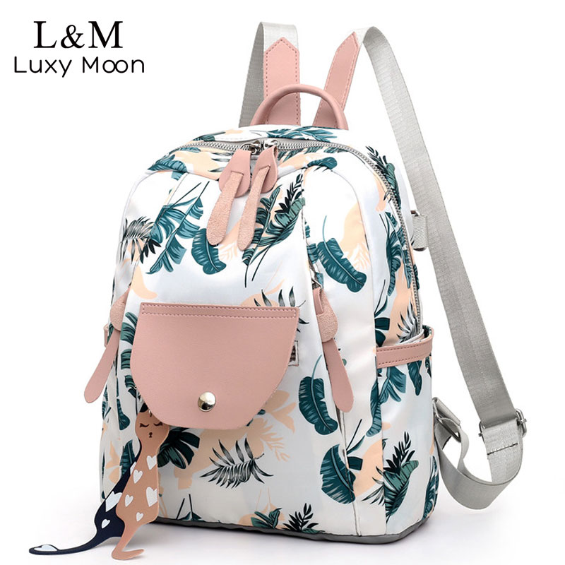 Women Backpack Flower Printing School Backpacks For Teenage Girls 2019 Nylon Bookbags Lady Daily Travel Sac Shoulder Bags XA511H