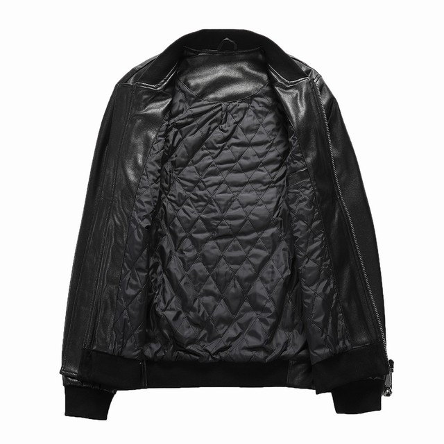 2021 Skull Rhinestones PU Jackets Men Black High Street Stand-Neck Zipper Rib Sleeve Streetwear Motorcycle Faux Leather Coats 3