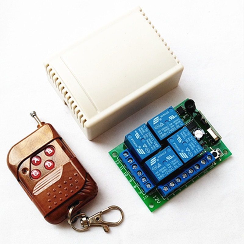 433Mhz Universal Wireless Remote Control Switch DC12V 4CH Relay Receiver Module With 4 Channel RF Remote Control 433 Mhz1527 Lea