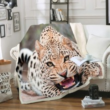 3D Digital Print Leopard Image Soft Sherpa Fleece Blanket Plush Throw Blanket for Boys Bed Sheet Sofa Cover Jungle Animal Series