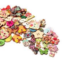 2021new botão de moda mix 30pc pintura mista botões de madeira para artesanato scrapbooking costura roupas botão diy suprimentos de vestuário