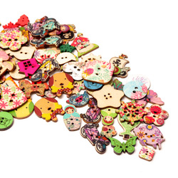 2021new button fashion mix 30pc Mixed Painting Wooden Buttons For Crafts Scrapbooking Sewing Clothes Button DIY Apparel Supplies