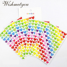 WISHMETYOU 6PCS Color Stickers Scrapbooking Album Photo Accessories Circular Love Stars Shape DIY Notebook Decoration