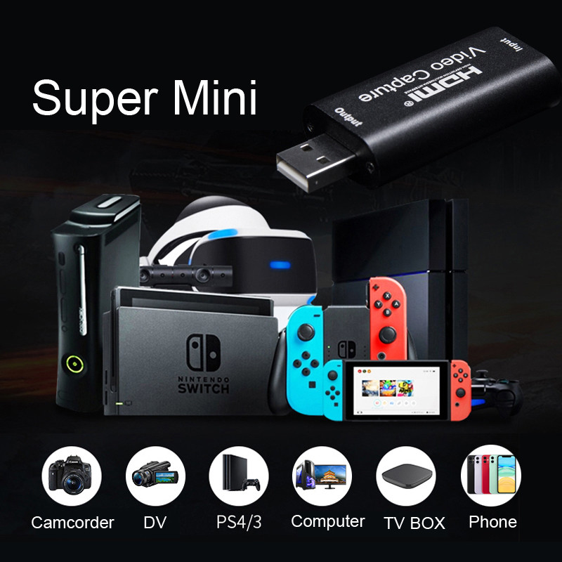 H1111Z Video Capture Card USB 3.0 2.0 HDMI Video Grabber Record Box fr PS4 Game DVD Camcorder HD Camera Recording Live Streaming 5